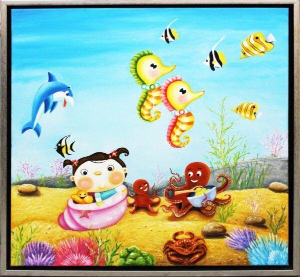 Pige leger med havdyr maleri af Mingde Jian