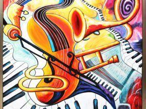 Maleri spændende og sjove musikinstrumenter