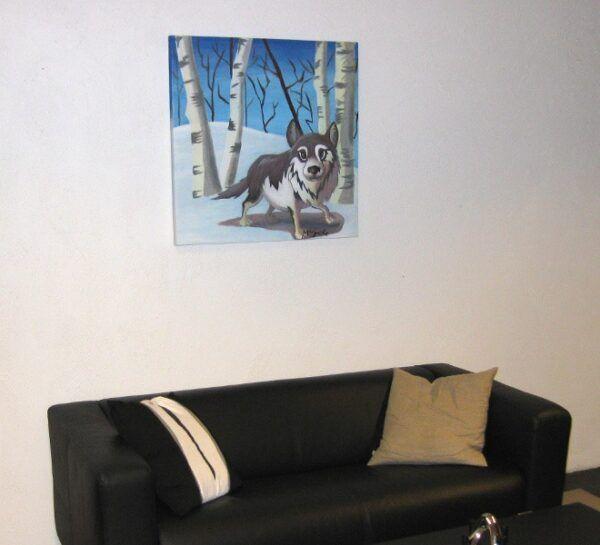 Farlig ulv i skoven miljøbillede over sofa