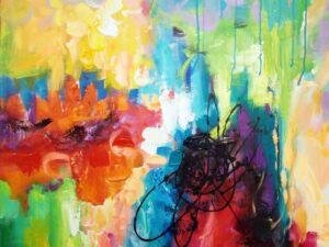Betragtende glæde abstrakt maleri