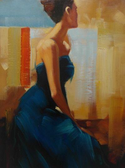 Kvinde i blå kjole maleri