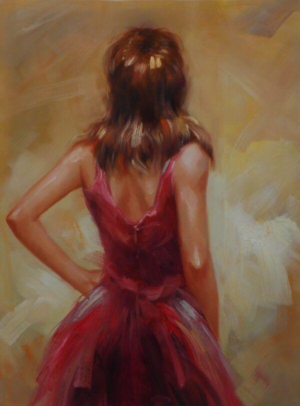 Maleri kvinde med ryggen til i kvindelige motiver
